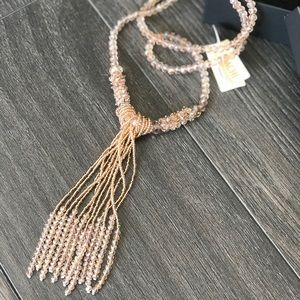 SAACHI Long Rose Gold Beaded Handmade Necklace